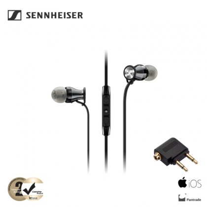 Sennheiser MOMENTUM In-Ear Earphones Travel with Integrated Mic & Remote for iOS Devices Black (M2 IEI Travel Set)